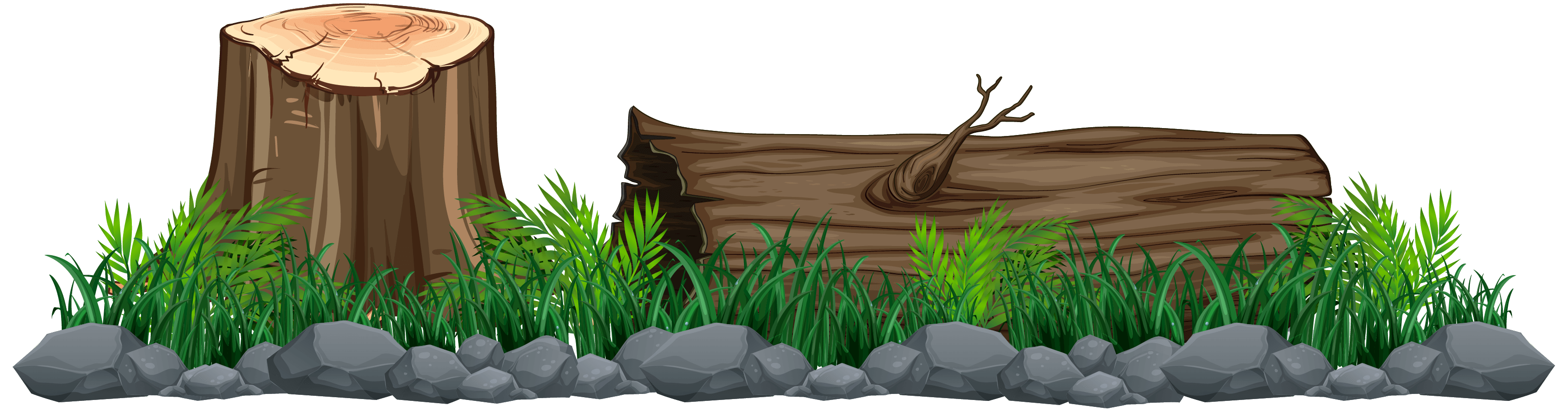 vector image of tree stump and log with grass and rocks