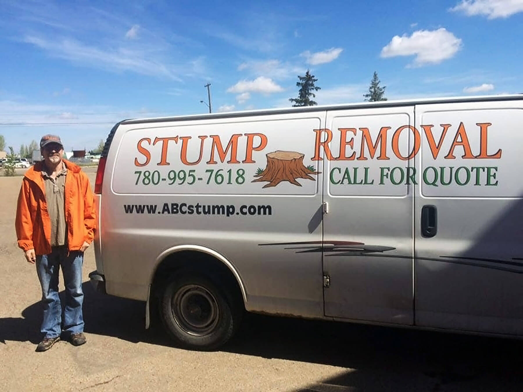 Peter, owner of ABC Stump Removal, in front of his company van in Edmonton, AB