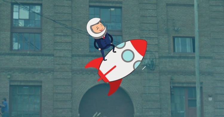 Illustration of a boy on a rocket ship.
