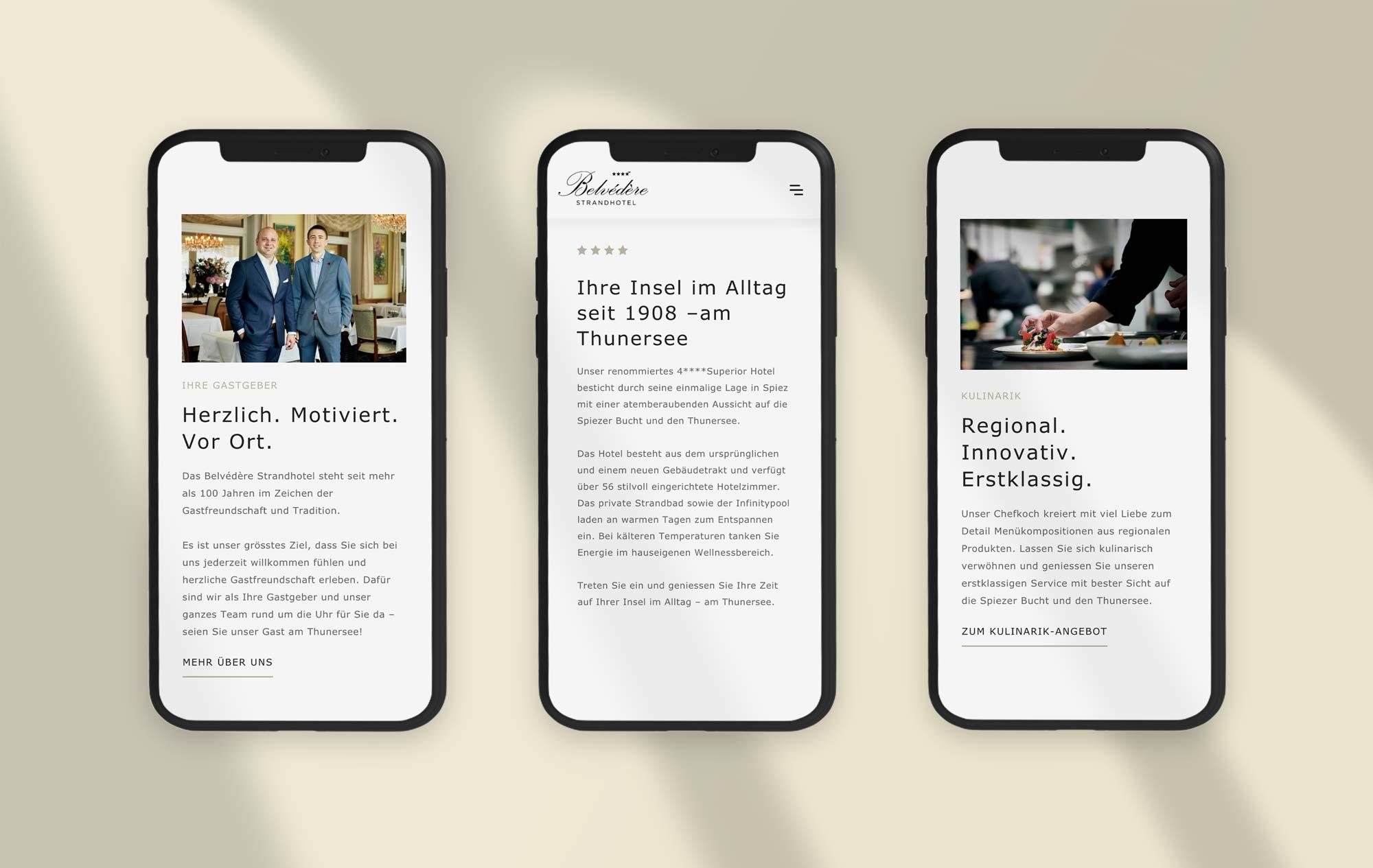 Mobile Webdesign Schweizer Hotel