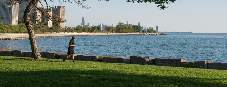 Running along lakefront