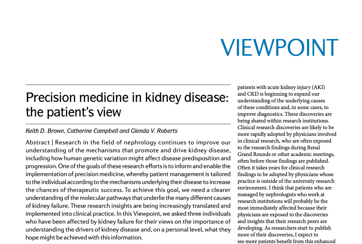 KPMP patients author article in Nature Reviews Nephrology