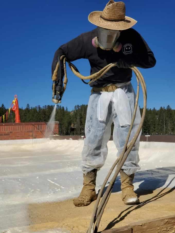 Spray foam roof application.