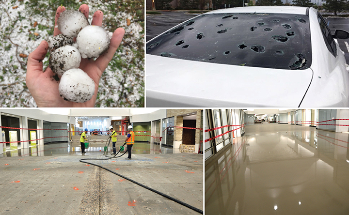 Hail damaged the roof of Colorado Mill Mall in Colorado.
