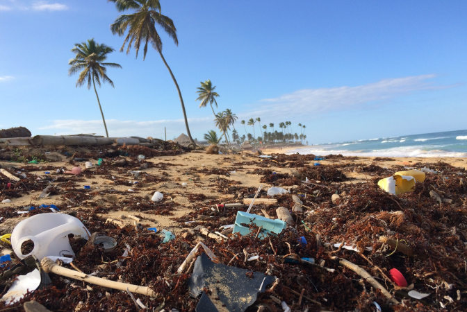 A beach covered in human waste and garbage