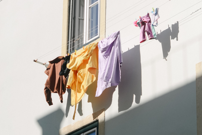 Clothes hanging on a laundry line