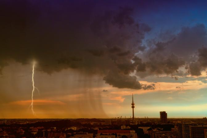 Lightening striking a city skyline