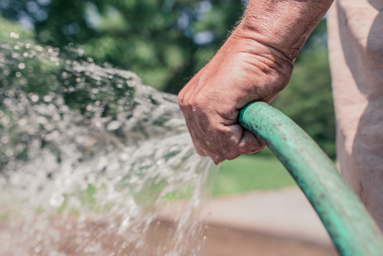 Man holding hose spraying water on his lawn