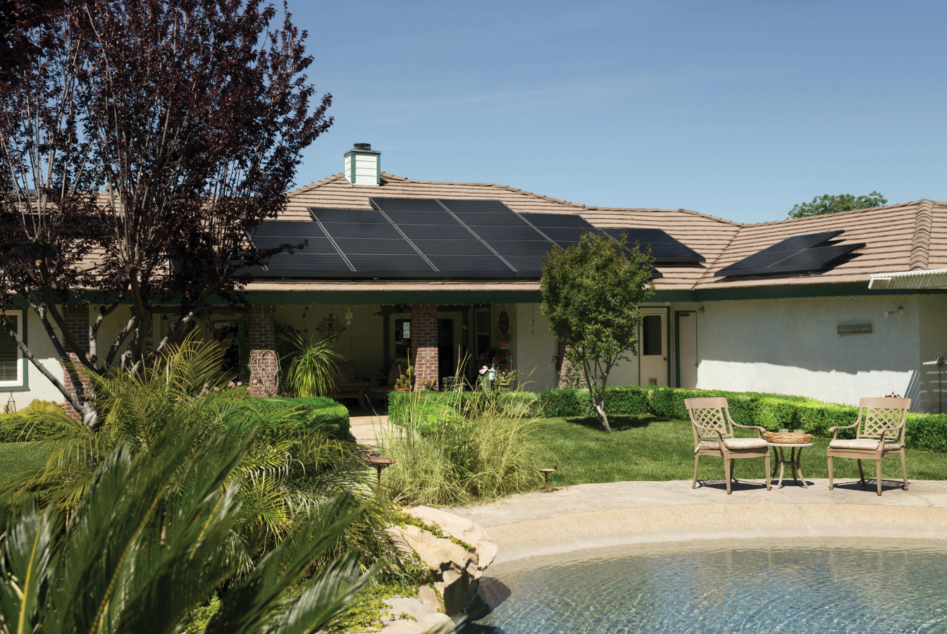 Sustainable home with solar panels on the roof