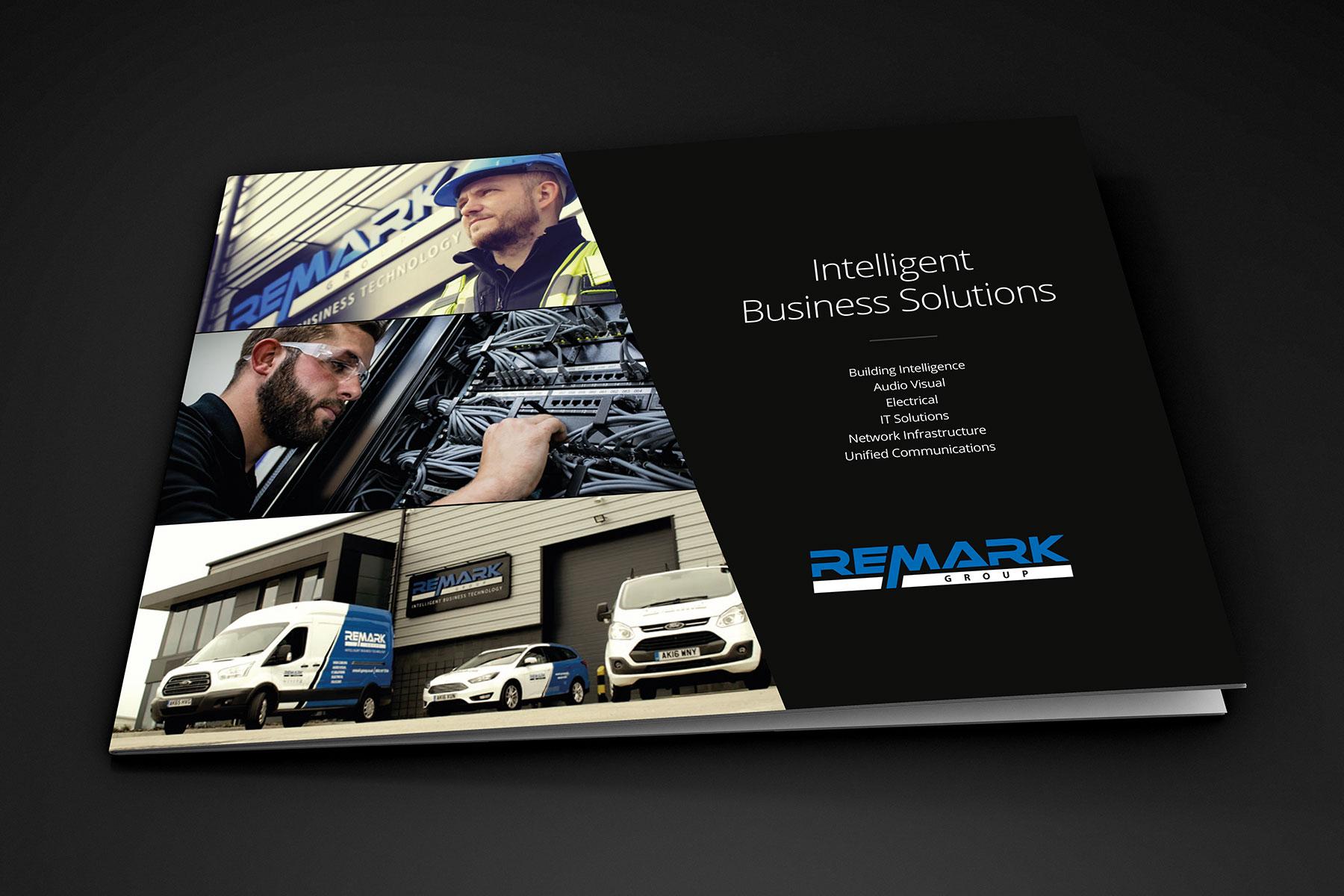 Brochure design cover for Remark branding
