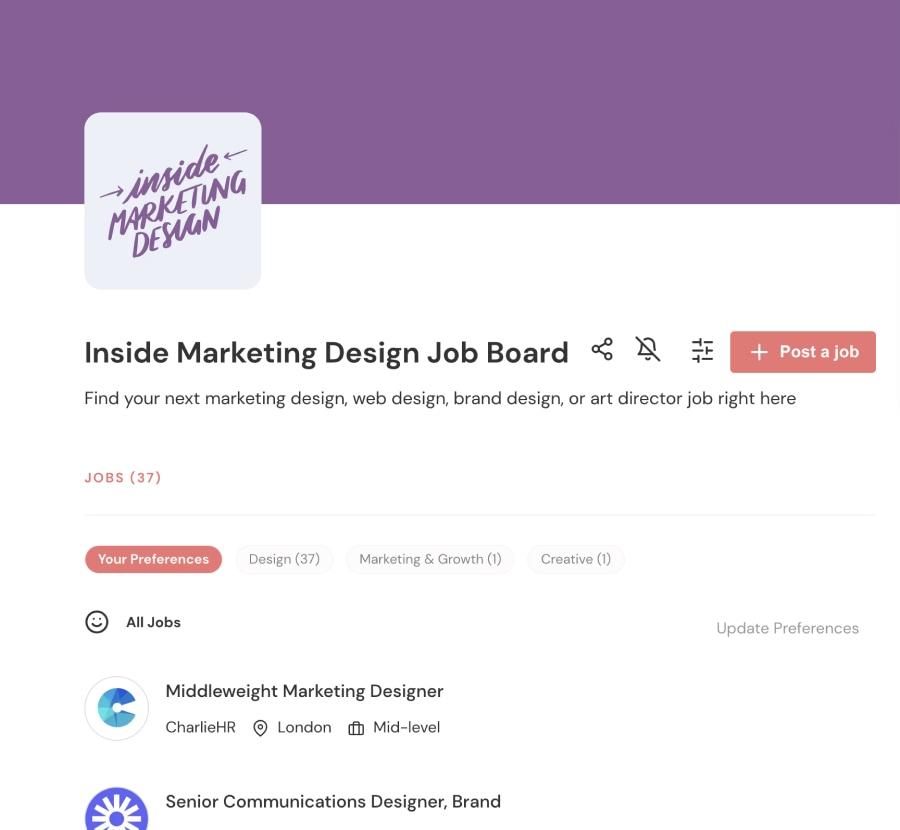 Screenshot of the Inside Marketing Design job board showing neatly organised jobs