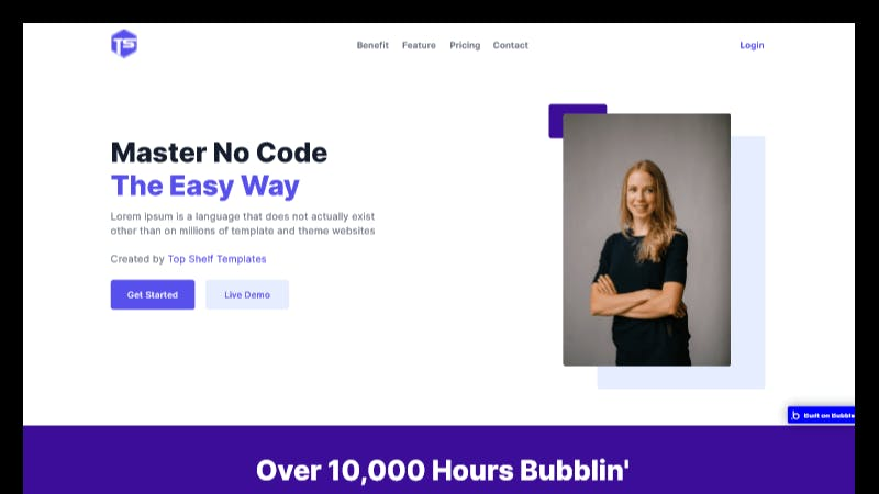 Bubble.io Startup Landing Page Template