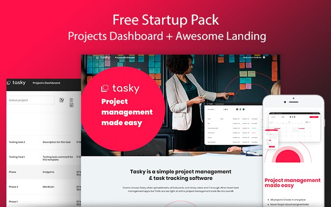 Bubble.io Tasky - Projects + Landing Template
