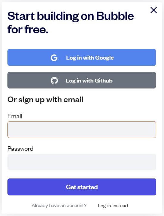 Bubble.io account sign up prompt
