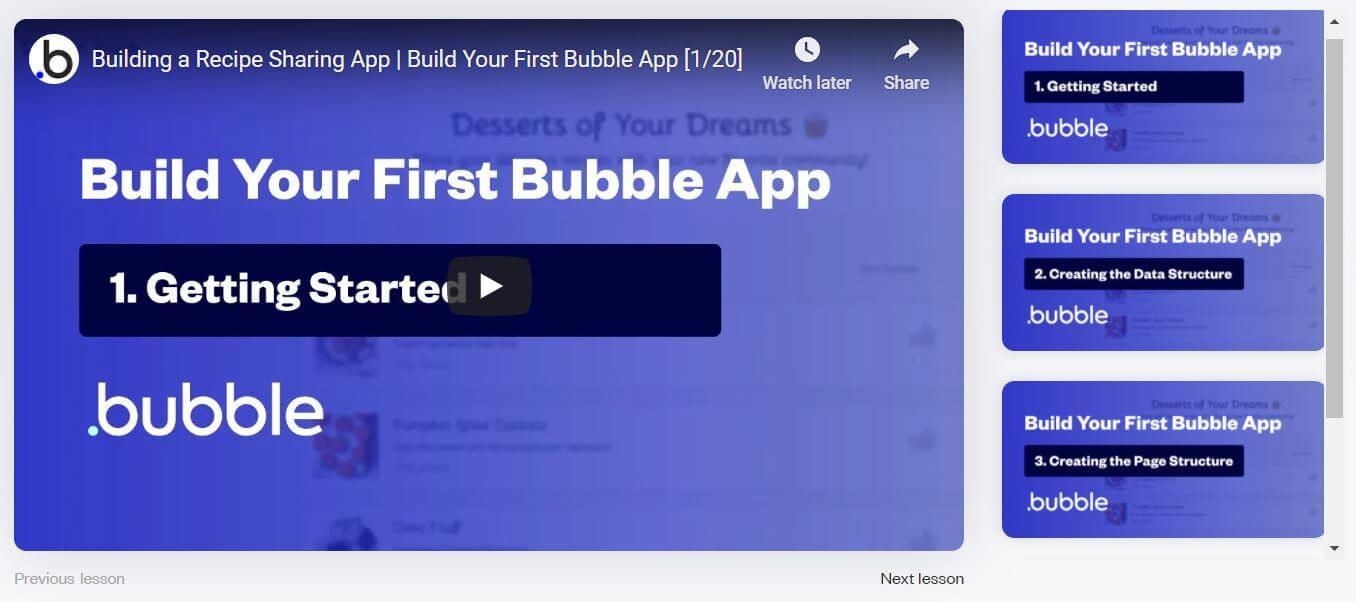 Bubble.io video tutorials