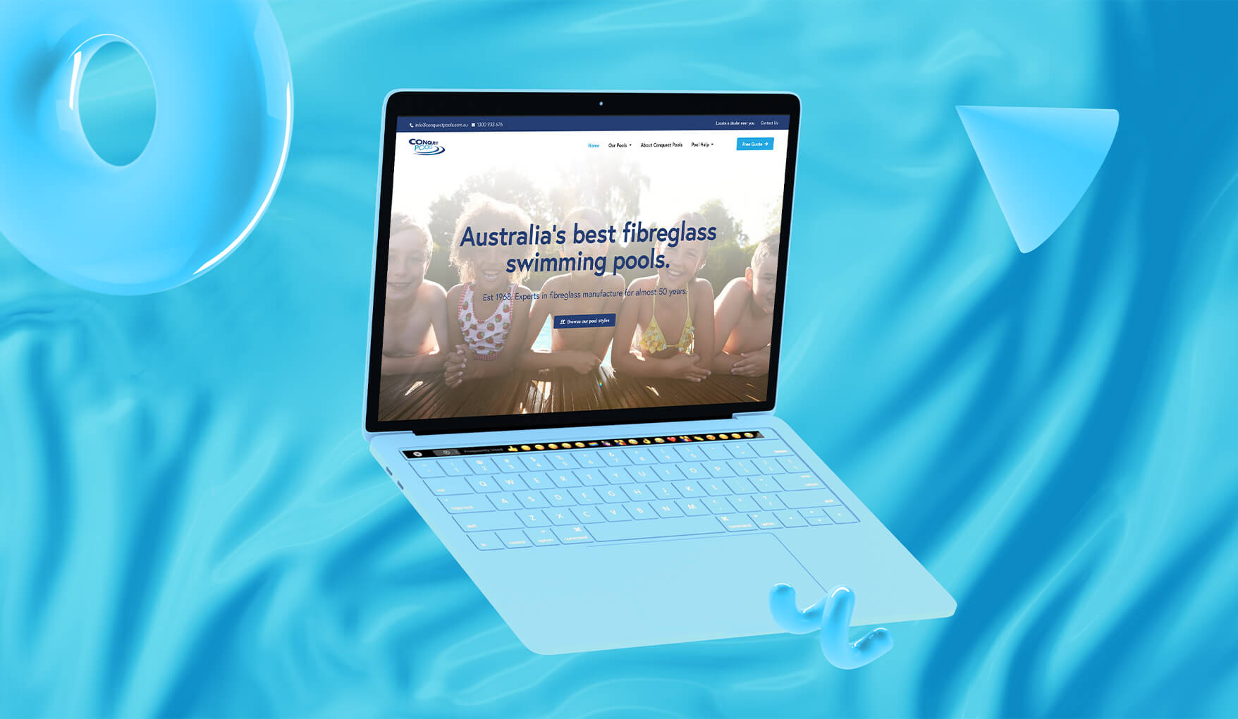 Conquest Pools website loadded on a blue Macbook with a blue wavy background