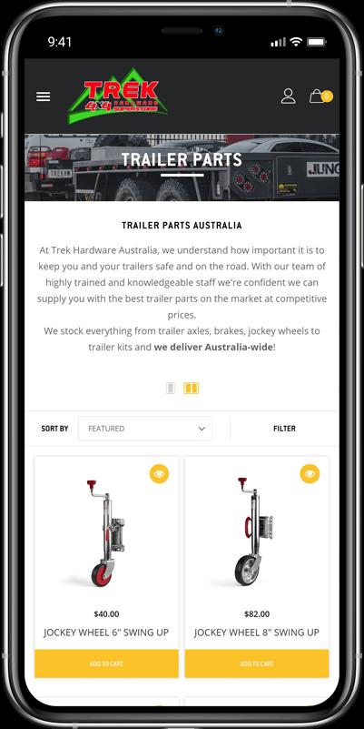 Trek Hardware eCommerce website loaded on mobile