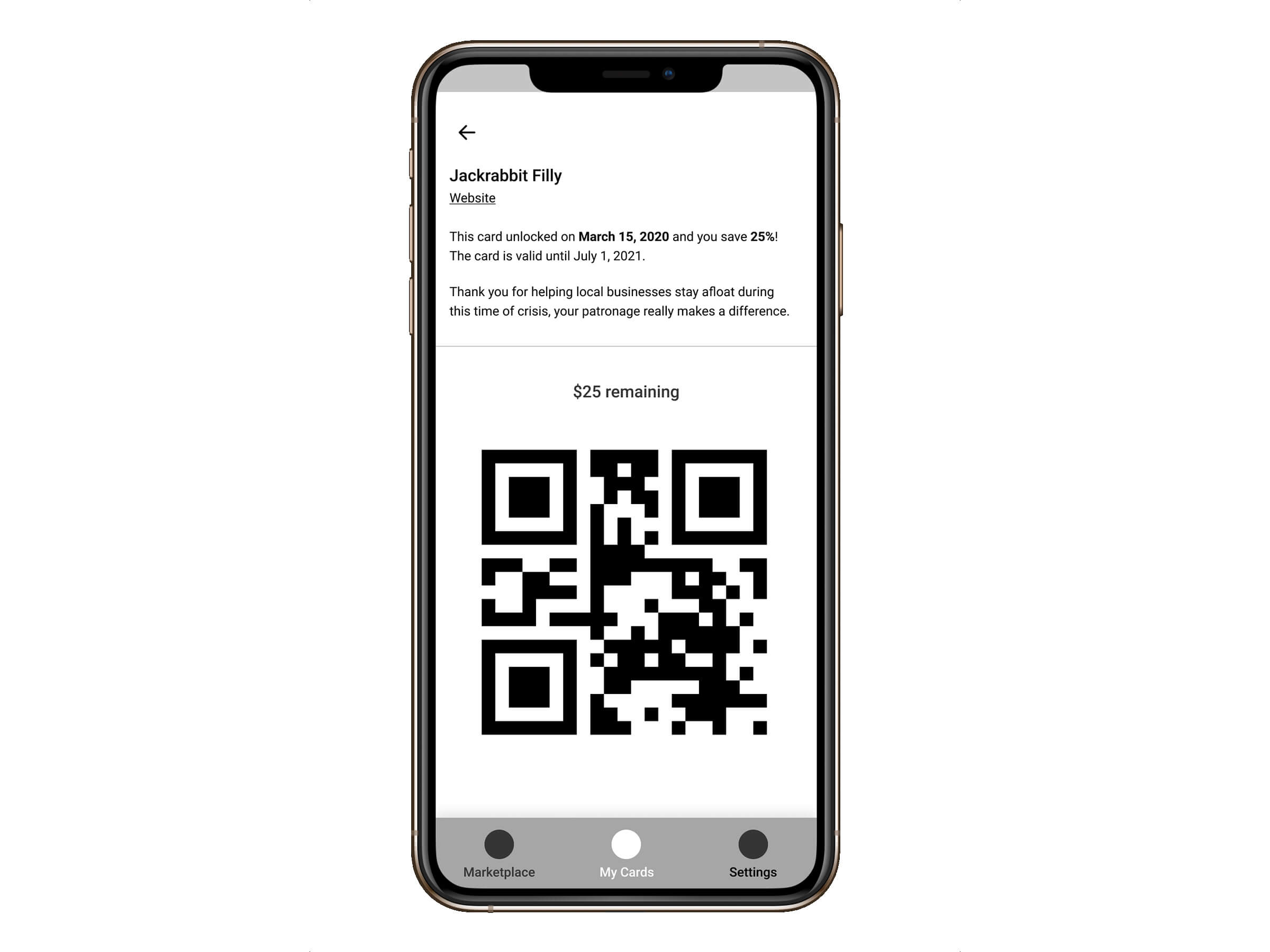 Early stage wireframes for the concept of redeeming the gift card via an iPhone app with a QR code