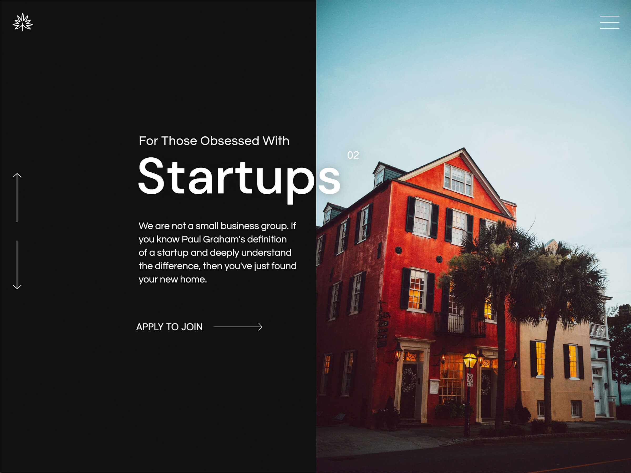 The second slide from the homepage that describes that we are not a small business group, we are a startup group