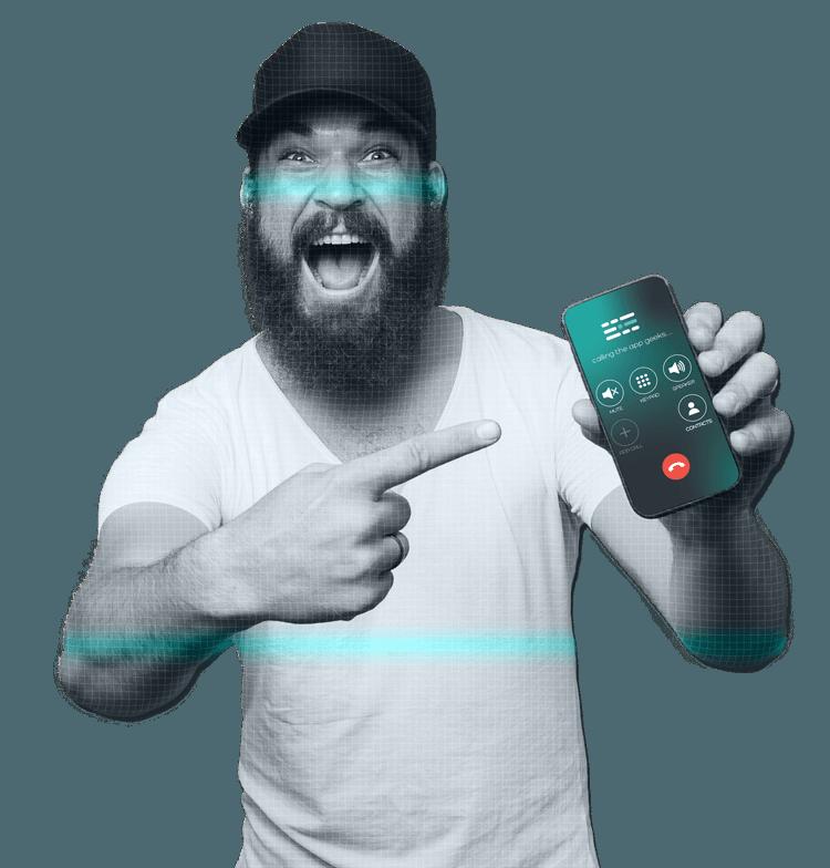 Man holding mobile