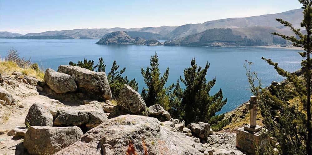 Lake Titicaca from above Copacabana, Bolivia