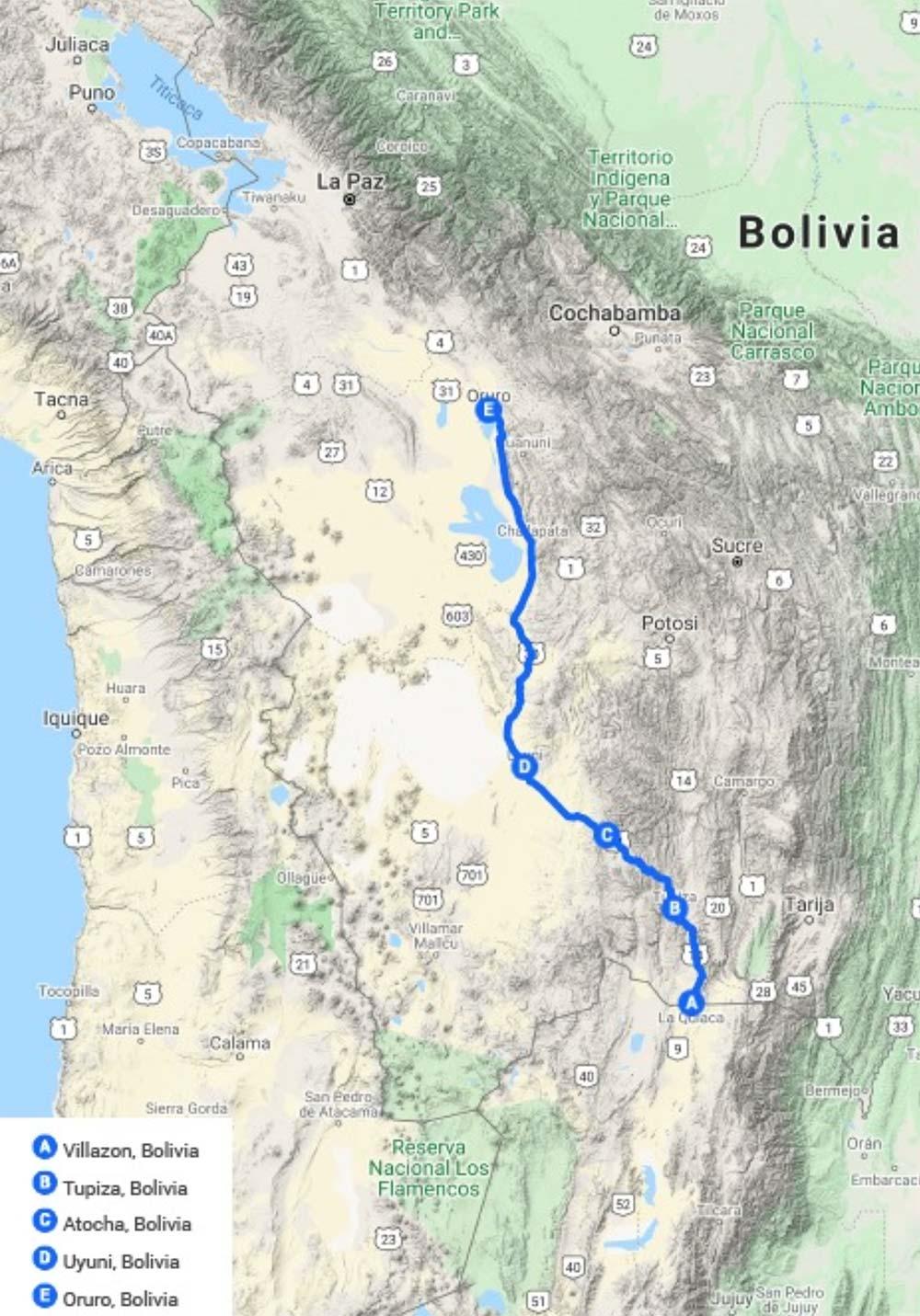 Railway Map Expreso del Sur and Wara Wara Express