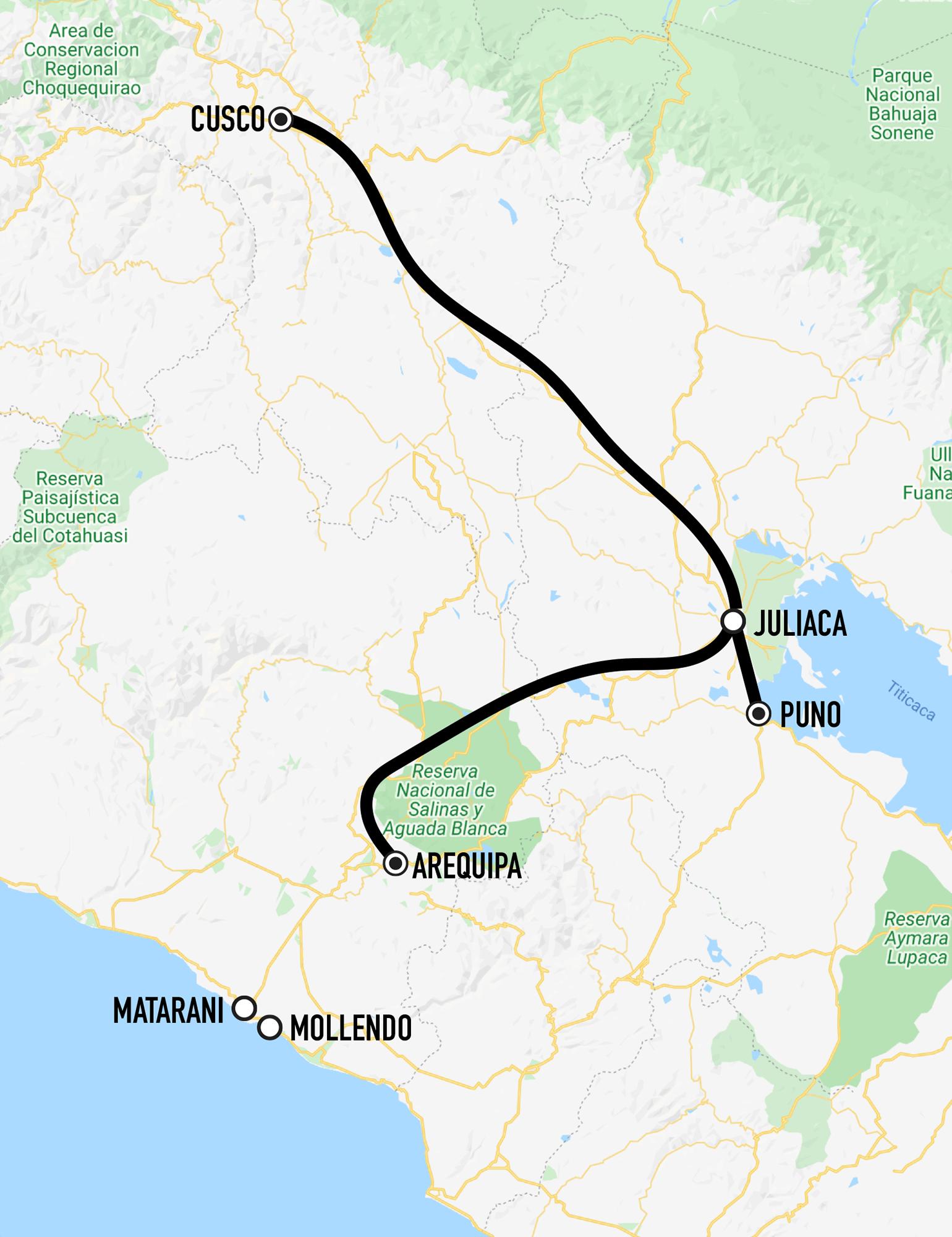 Railway Map Ferrocarril del Sur Cusco - Juliaca - Puno and Juliaca - Arequipa