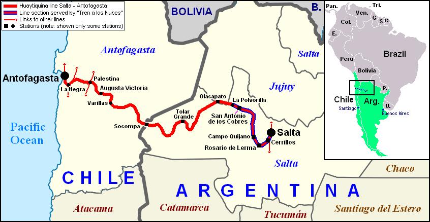 Railway Map Salta - Socompa - Antofagasta Railroad