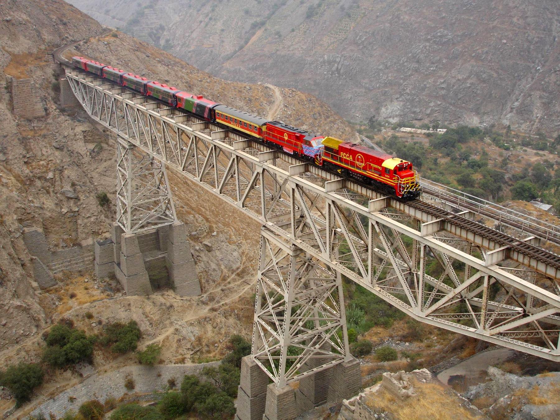 Lima to Huancayo Train over the Carrion Bridge