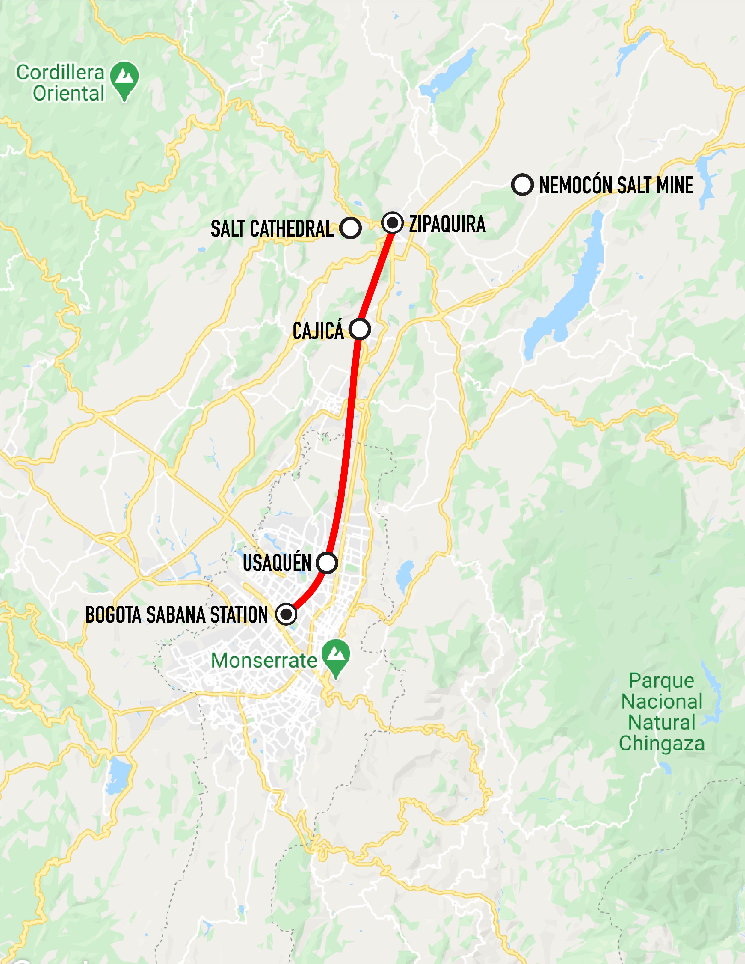 """Map of the """"Tren de la Sabana"""""""