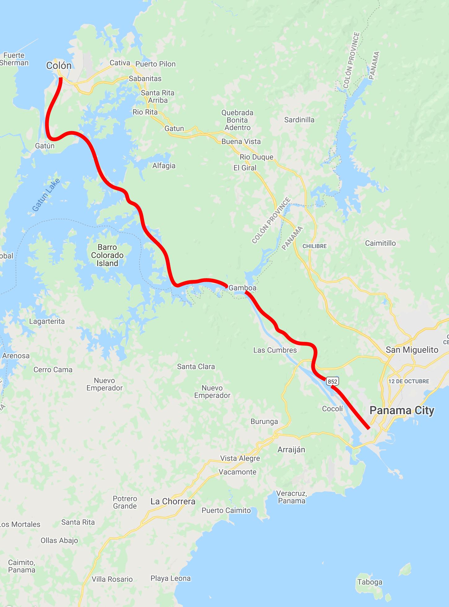 Panama Canal Railway Map