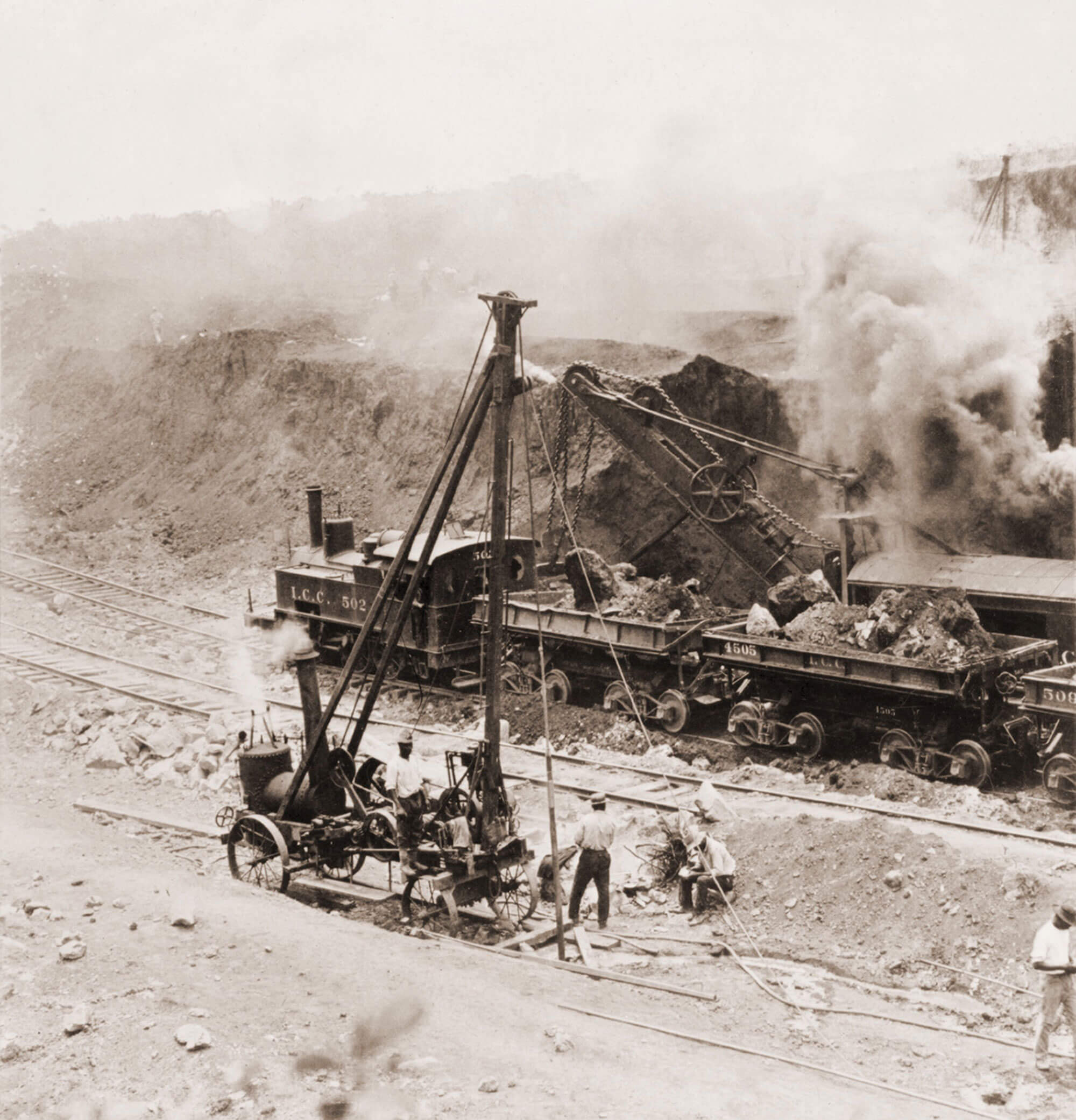 Train during the Panama Canal Construction