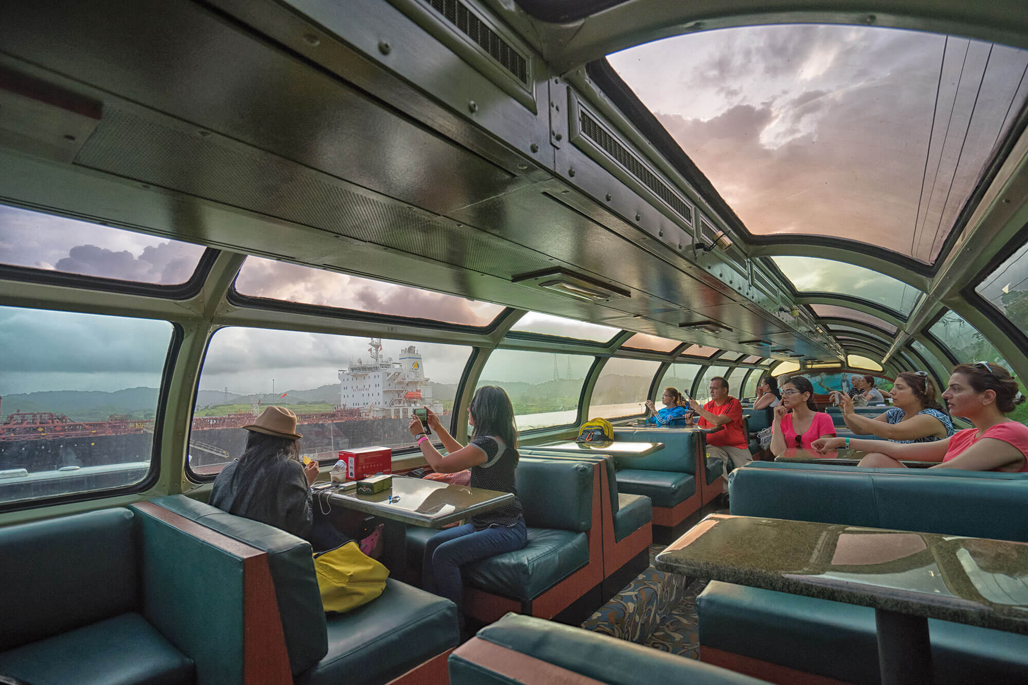 Inside the Dome Car of the Panama Canal Railway