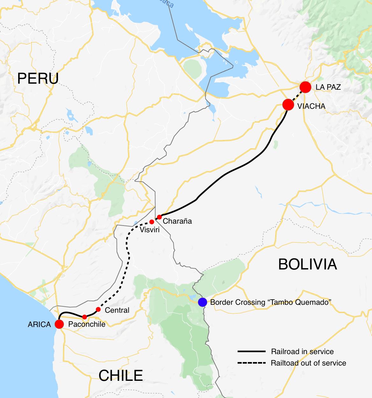 Map of the Arica La Paz Railway