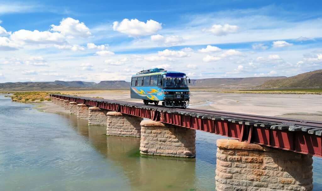 Autoferro on its way to Charaña on the Bolivian Side of the railroad