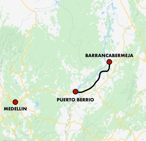 Mapa Ferrocarril Puerto Berrio -Barrancabermeja