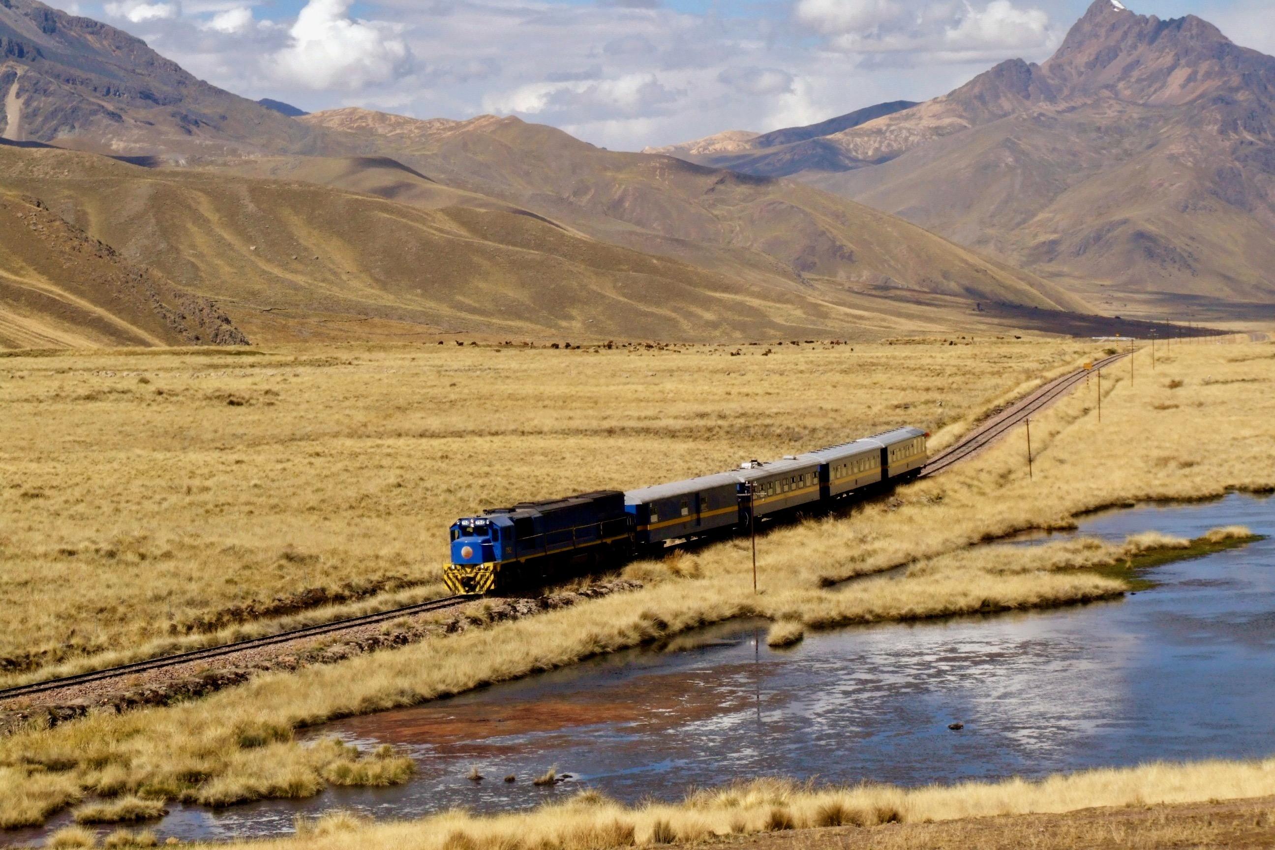 Lake Titicaca Train on its way to Juliaca, Peru