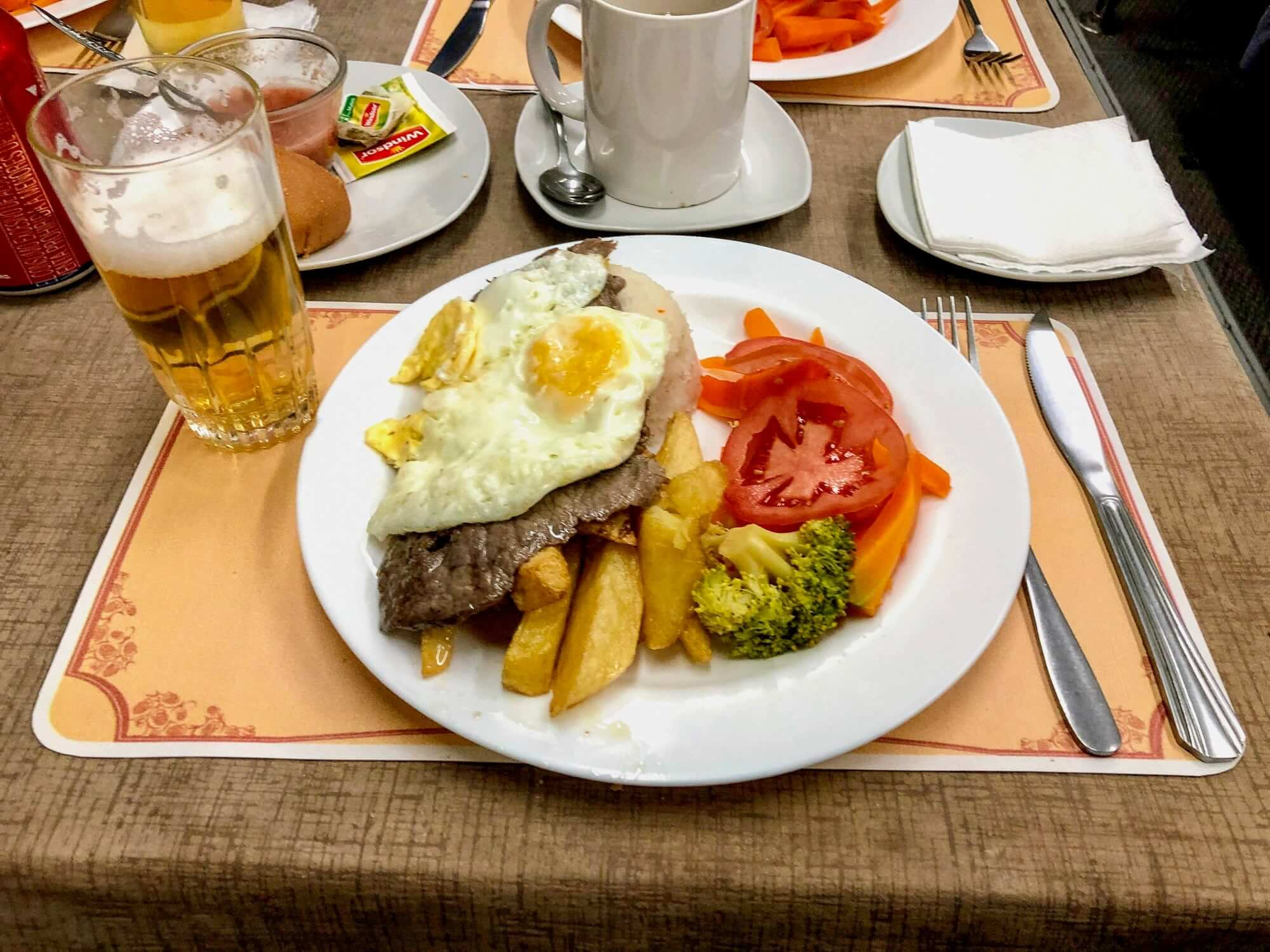 Meal at the Expreso del Sur Bolivia