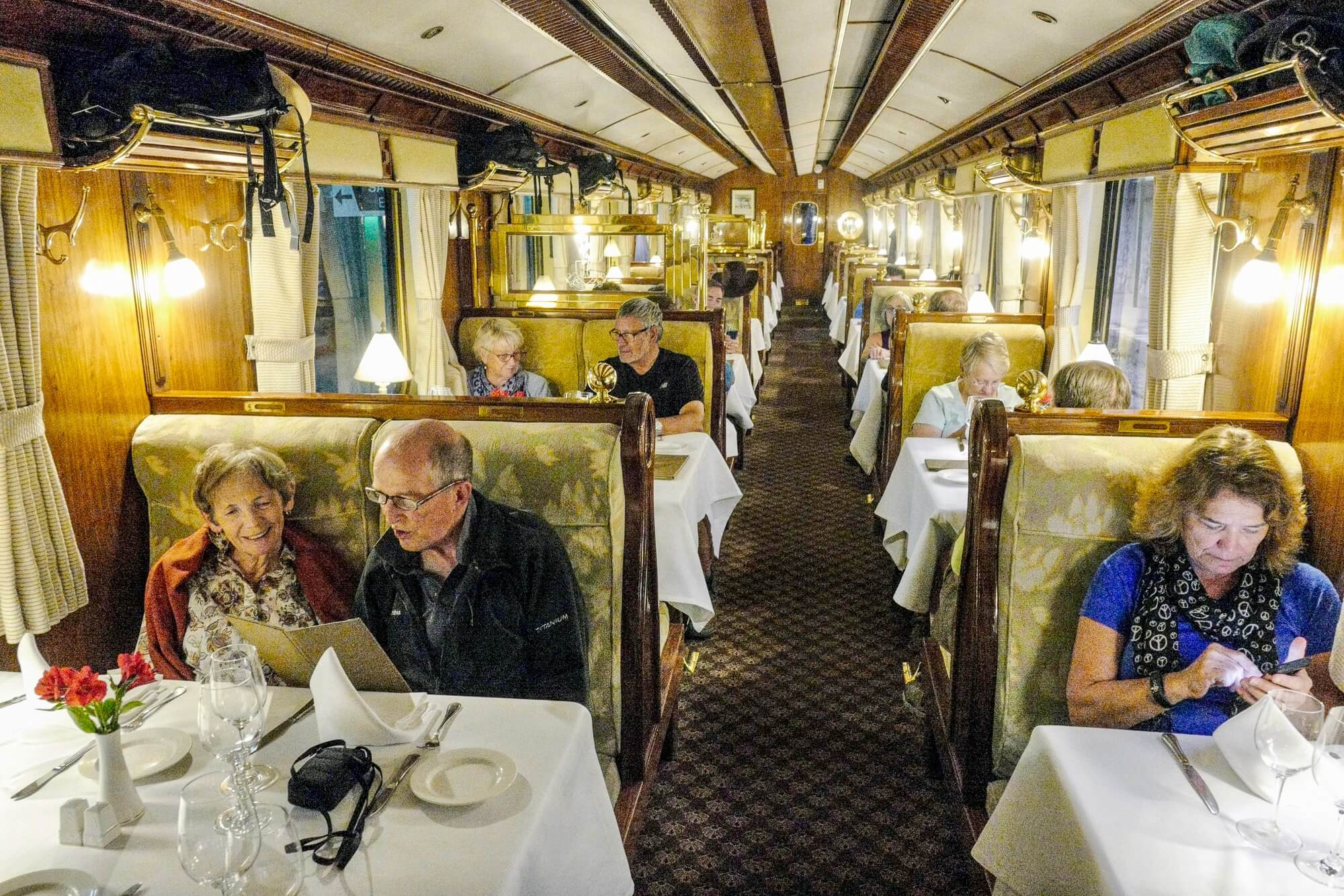 Dining Car at the Hiram Bingham Train between Aguas Calientes and Cusco, Peru