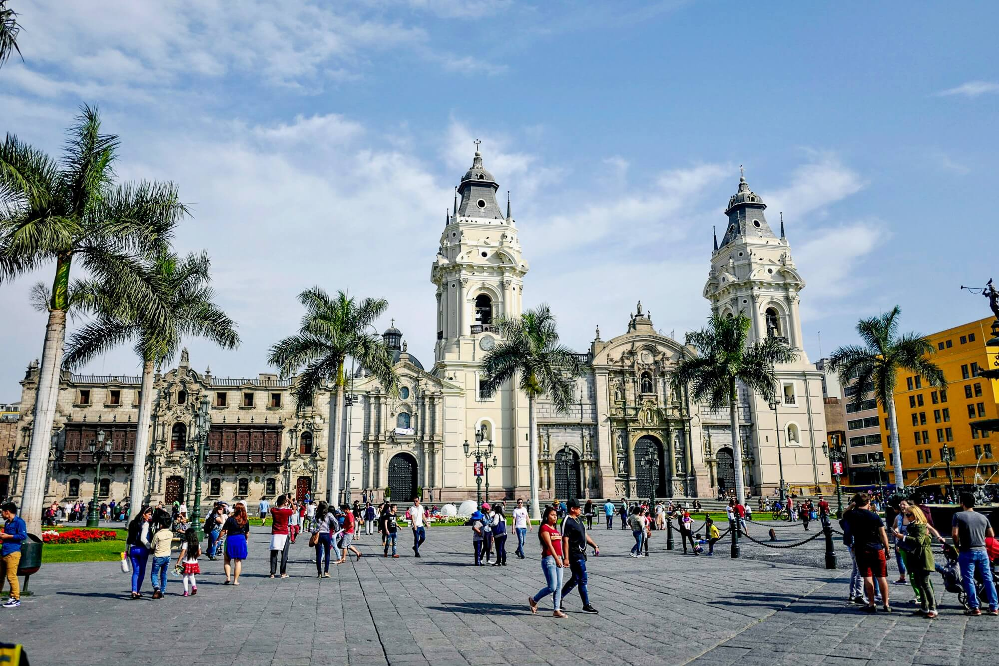 Plaza de Armas in Lima with the Cathedral and the Archbishops Palace