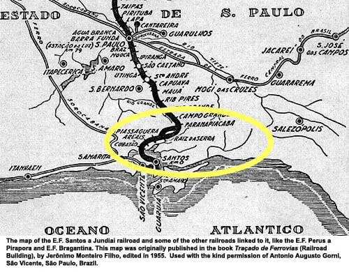 Old Sao Paulo - Santos Railway Map