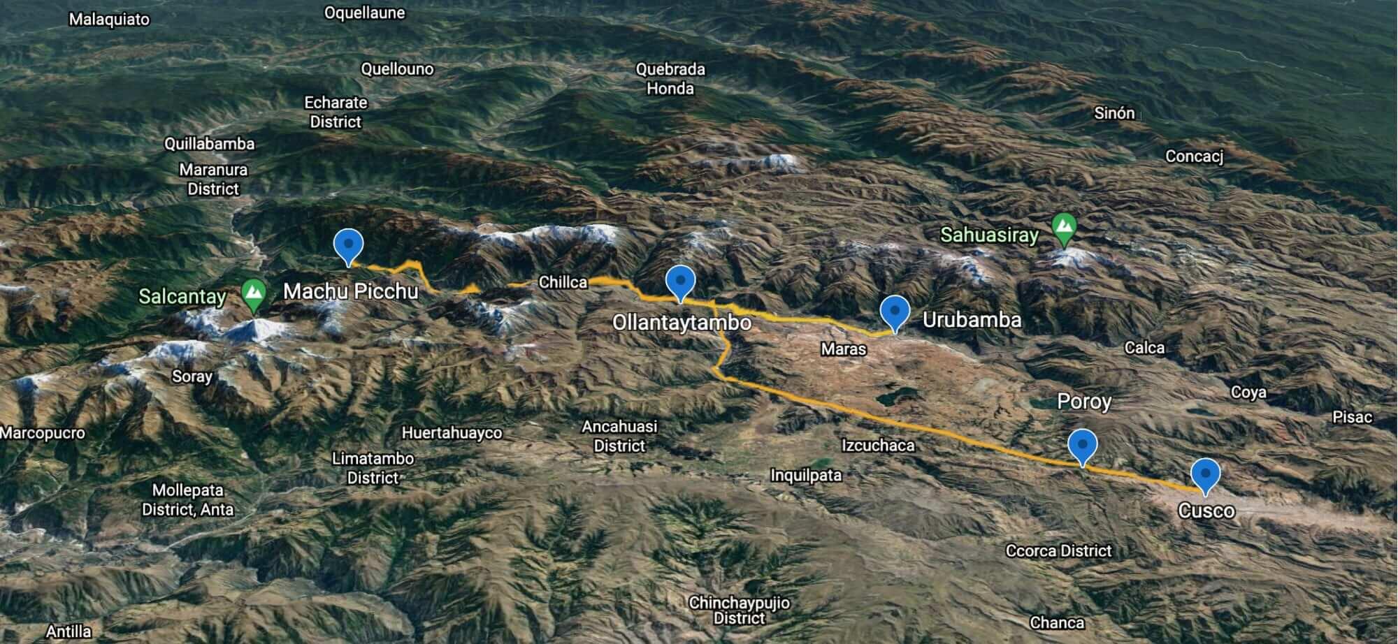 Map Cusco and Urubamba to Machu Picchu Train