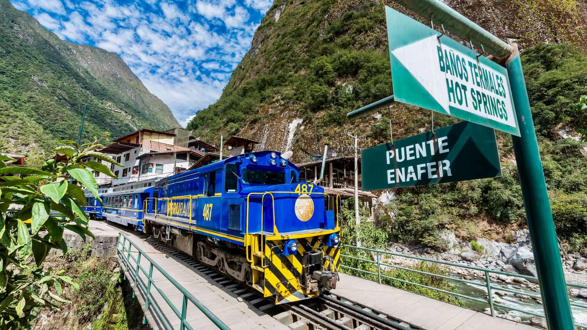 Hiram Bingham Train leaving Aguas Calientes