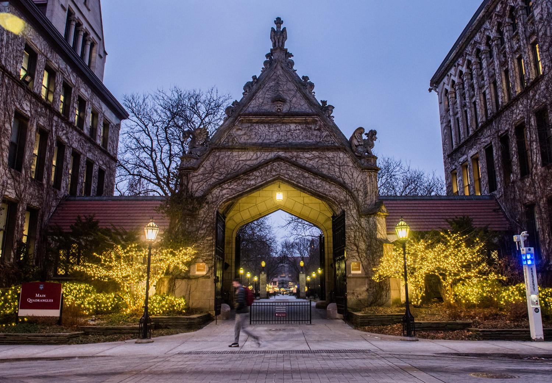Main Quadrangles on campus in winter