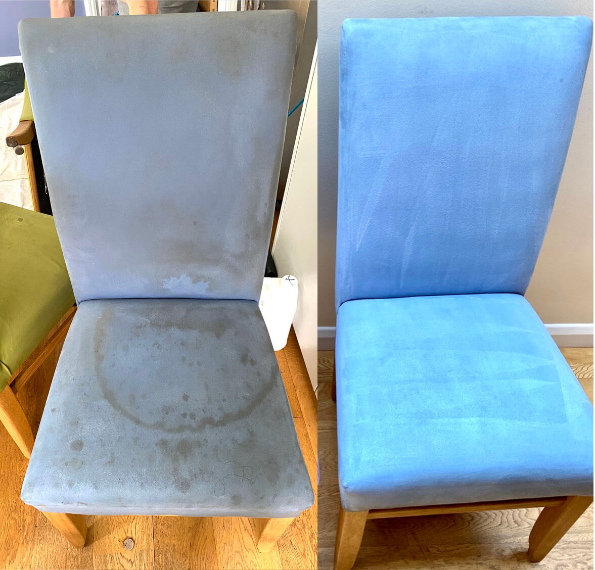 before after upholstery cleaning of chair by rubix clean in london, uk