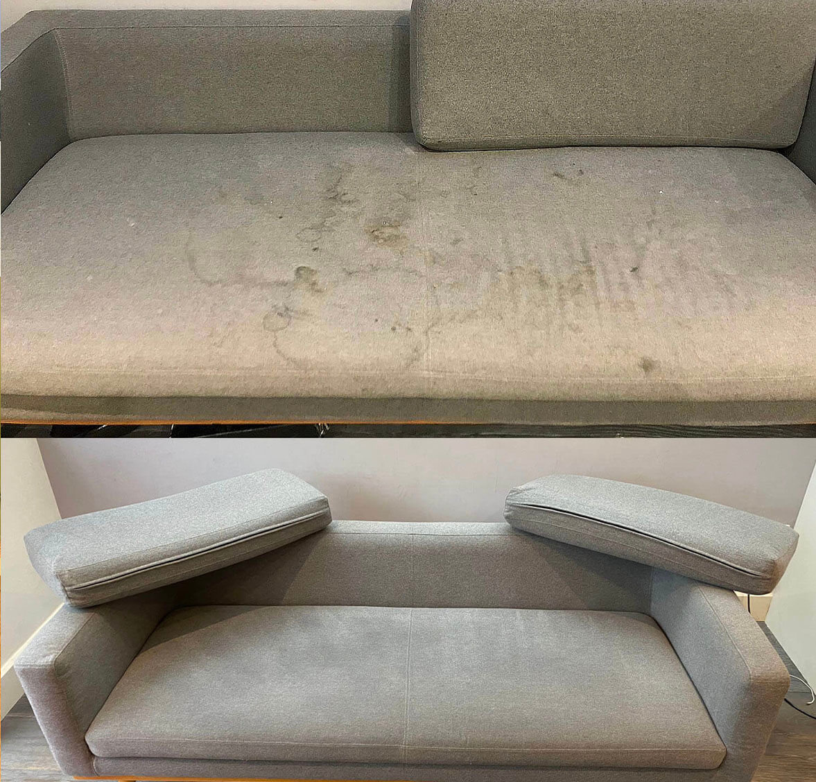 before after upholstery cleaning of sofa by rubix clean in london, uk