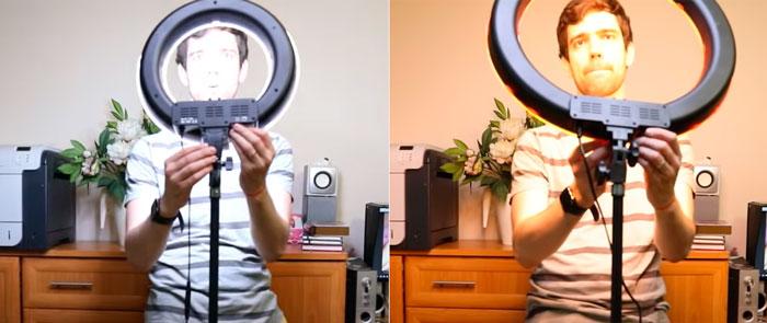 слишком мощная кольцевая лампа для видеоблогера
