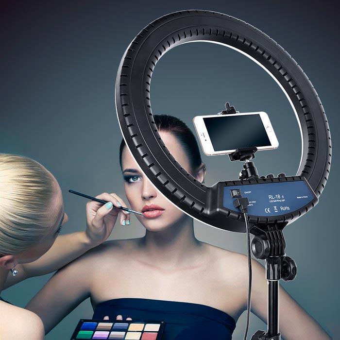 холодный свет для мастеров косметологов от кольцевой лампы