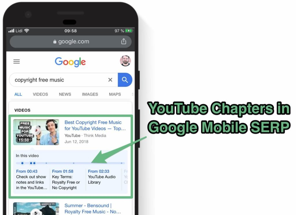 youtube chapters google serp