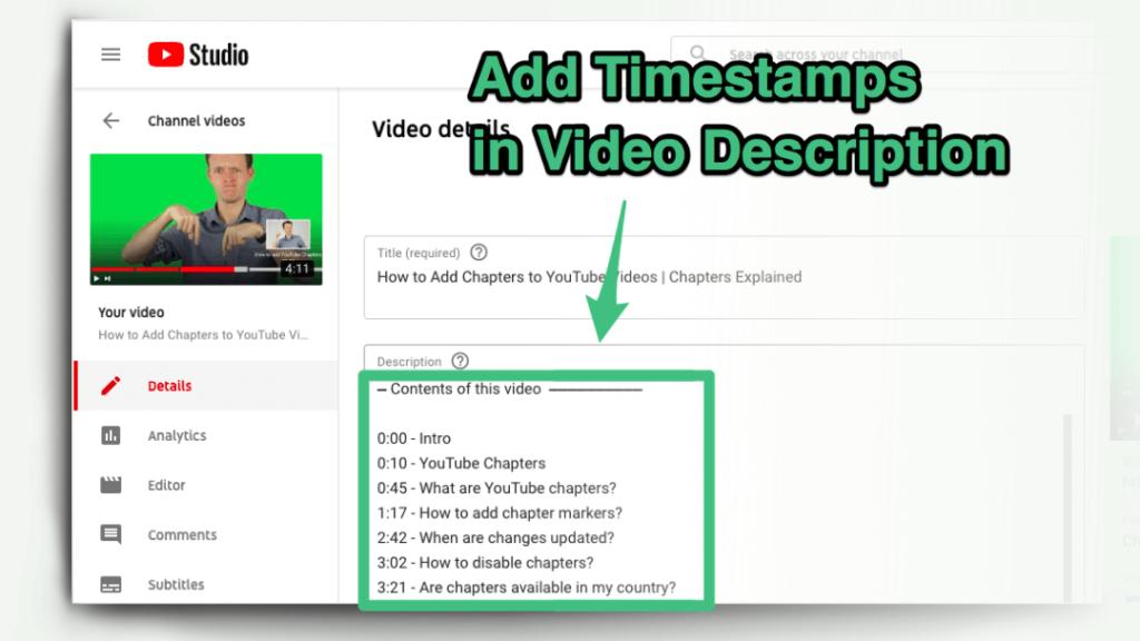 как добавить отметки времени к видео на YouTube